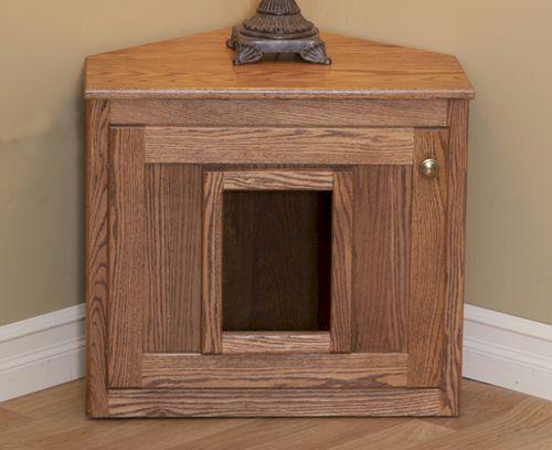 Corner Cat Litter Box Wooden Pet Furniture