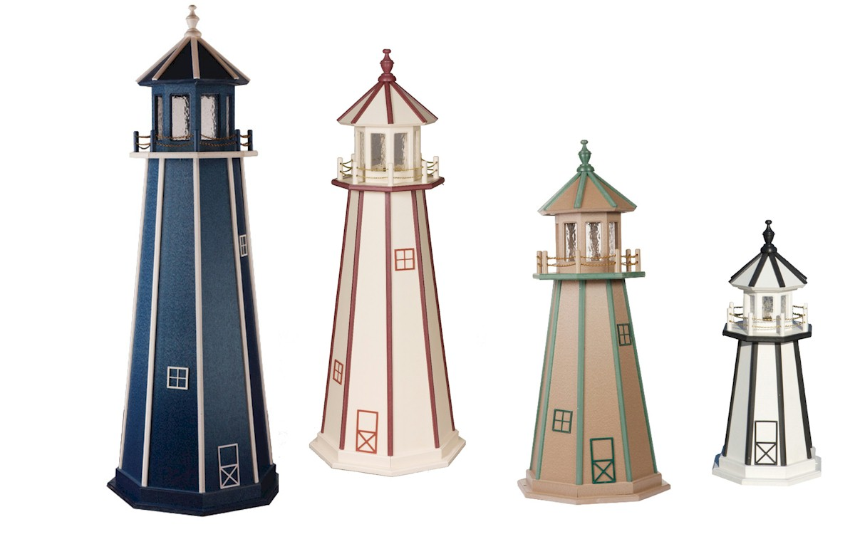 Standard Poly Lighthouses Click On Image For An Enlarged View. Use Back  Button To Return. Colors Shown (L U003e R): 6u0027 Blue/White Trim 5u0027 Ivory/Red Trim