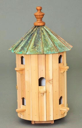 Cedar 10 Hole Bird House With Low Patina Copper Roof